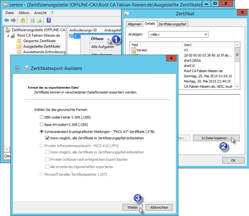 Installation einer Zertifizierungsstelle unter Windows Server 2012R2 Teil 2 - Erstellen der unter geordneten CA - 060914 1321 Installatio10 - 11