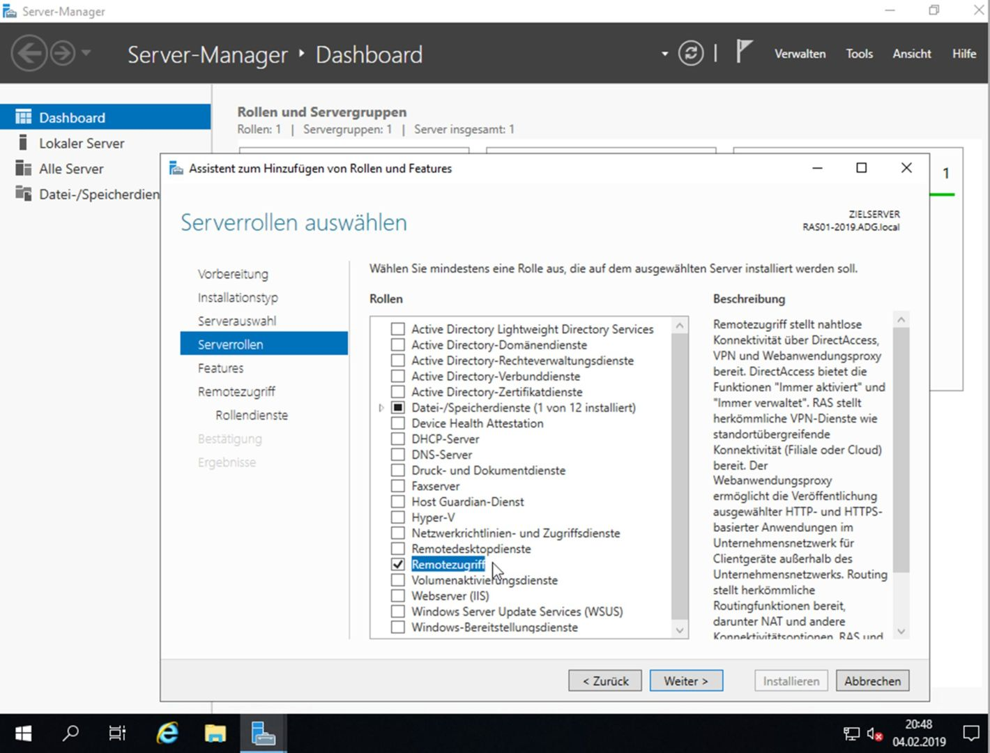 VPN Server mit Windows Server 2019 (RAS) -