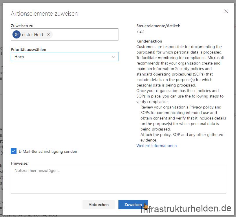 Assignment of customer responsible tasks for documentation in the Compliance Manager. Source: Screenshot Microsoft.com