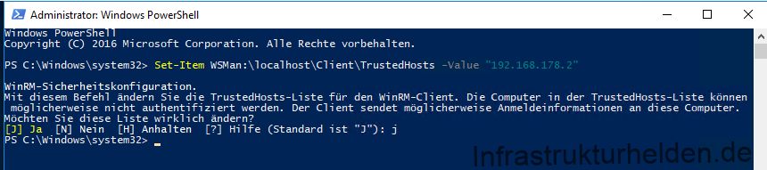 Screenshot Power Shell Set-Item WSMan:\localhost\Client\TrustedHosts