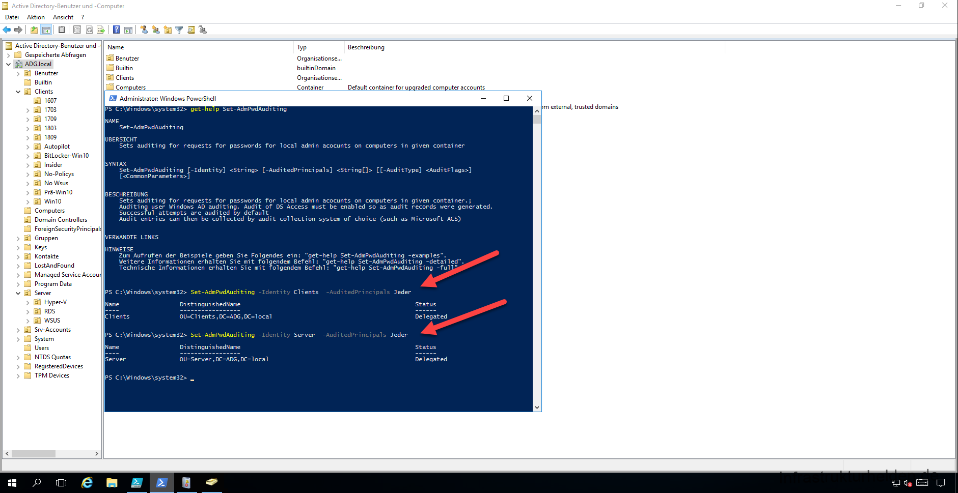 Screenshot Aktivieren des LAPS Audit mit  Set-AdmPwdAuditing in der Power Shell