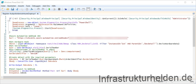 Screenshot of the client script to capture the hardware hash and upload it to the Azure Device Directory