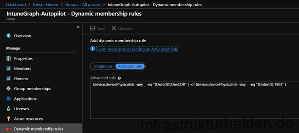 Screenshot: portal.azure.com - Dynamic Group with OrderID as criteria