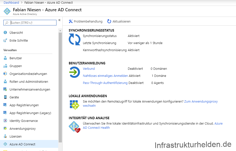 Screenshot: Azure AD Konsole - Azure AD Connect