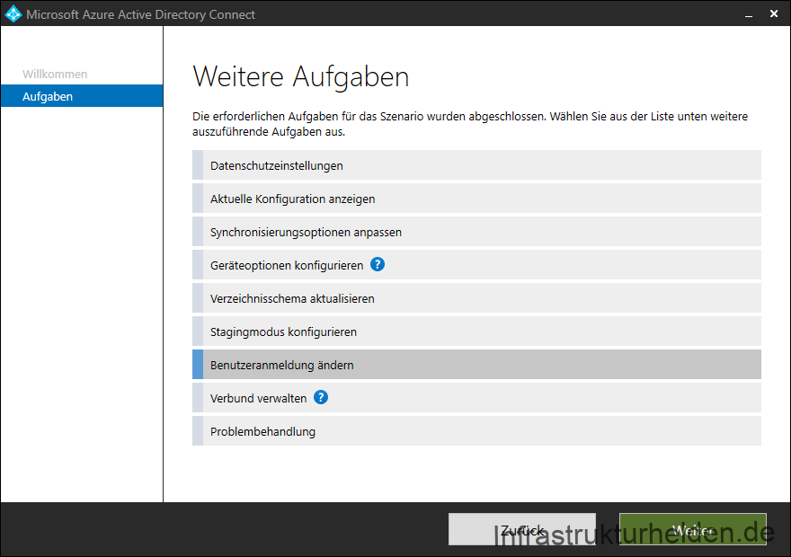 Screenshot Azure AD Connect GUI: Benutzerkonfiguration ändern