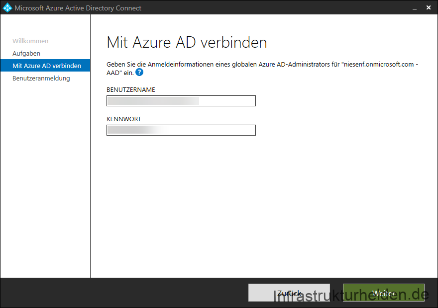 Screenshot Azure AD Connect GUI: Anmelden an Azure AD
