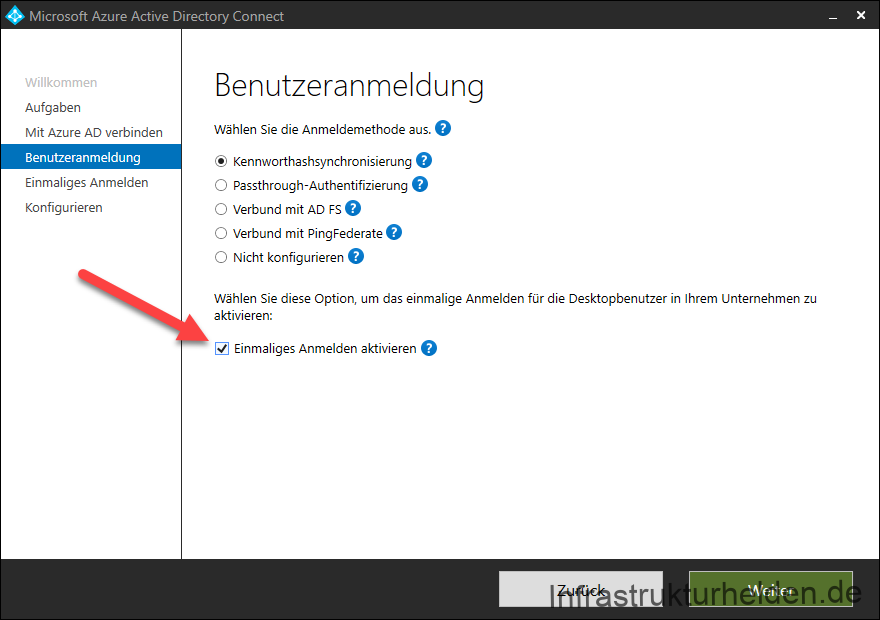 Screenshot Azure AD Connect GUI: Aktivieren von SSO