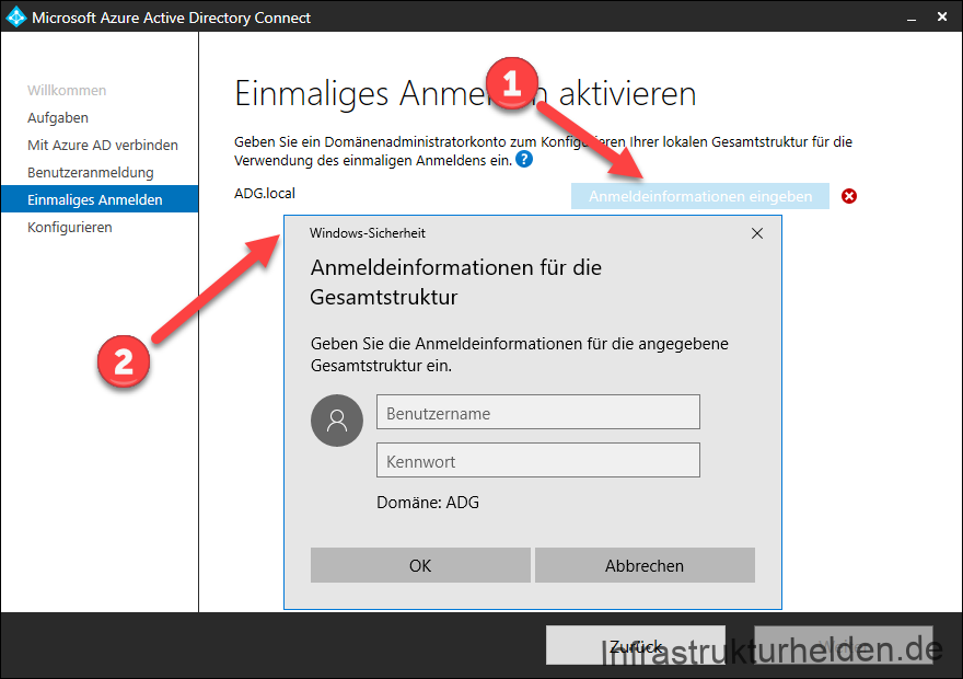 Screenshot Azure AD Connect GUI: Authentifizierung am AD