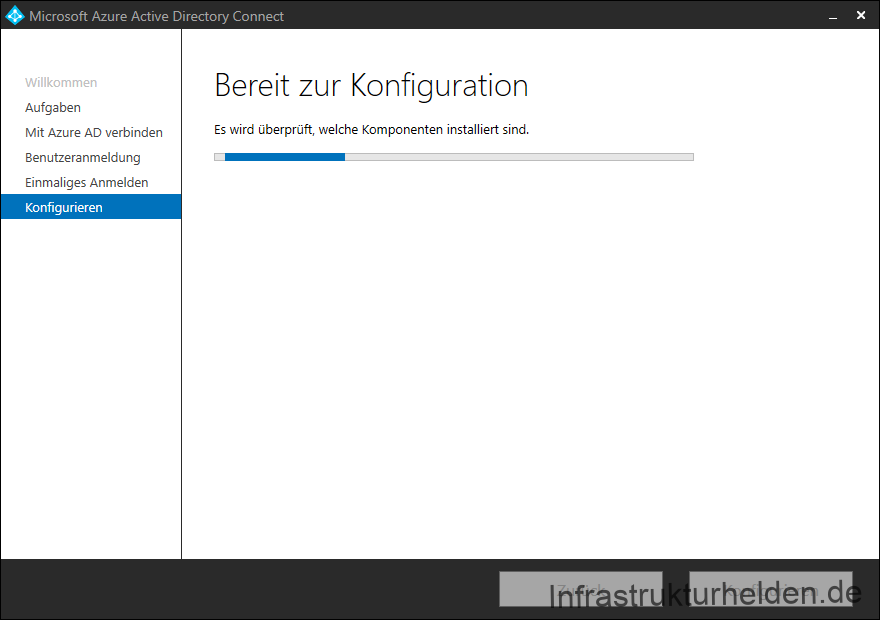 Screenshot Azure AD Connect GUI: Konfiguration wird vorbereitet