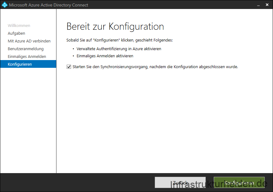 Screenshot Azure AD Connect GUI: Bereit zur Konfiguration