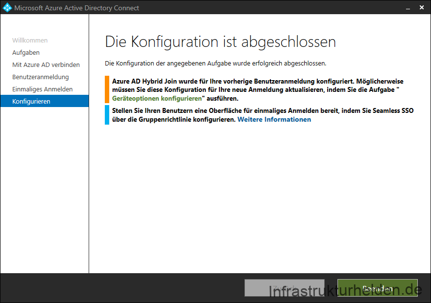 Screenshot Azure AD Connect GUI: Konfiguration abgeschlossen