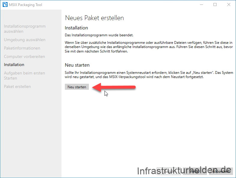 Screenshot: MSIX Packaging Tool  - Neues Paket erstellen - Installation