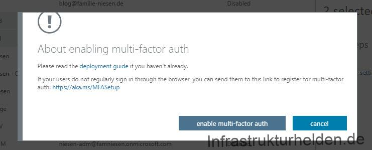 About enable Multi-factor auth