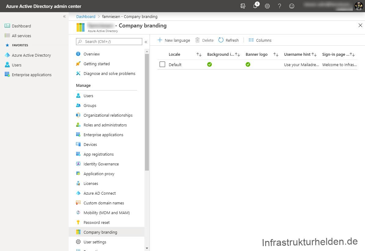 Azure Active Directory admin center  Dashboard > Company Branding