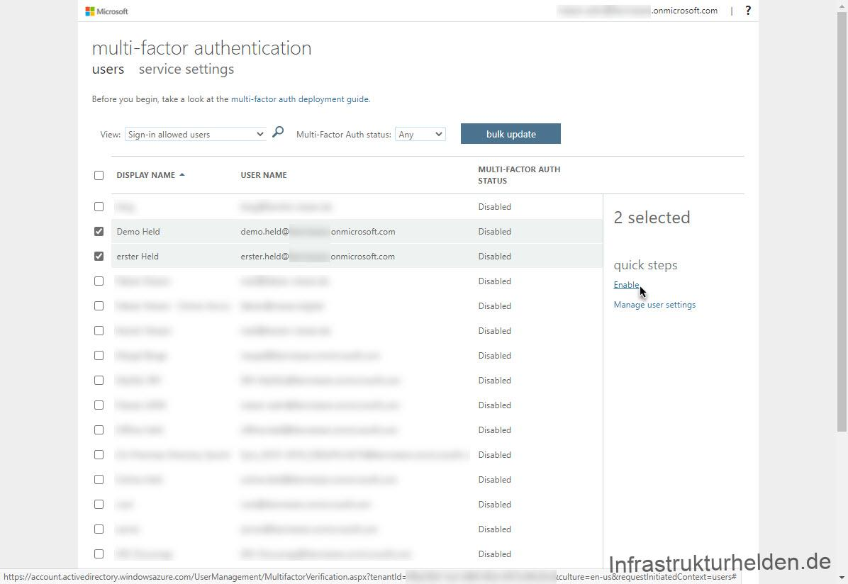 Azure Multi-factor authentification Enable multiple User