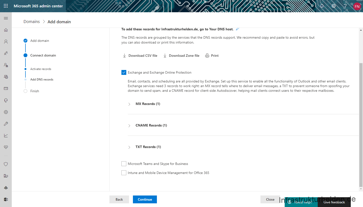 Microsoft 365 admin center > Domains > Add domain > DNS Records