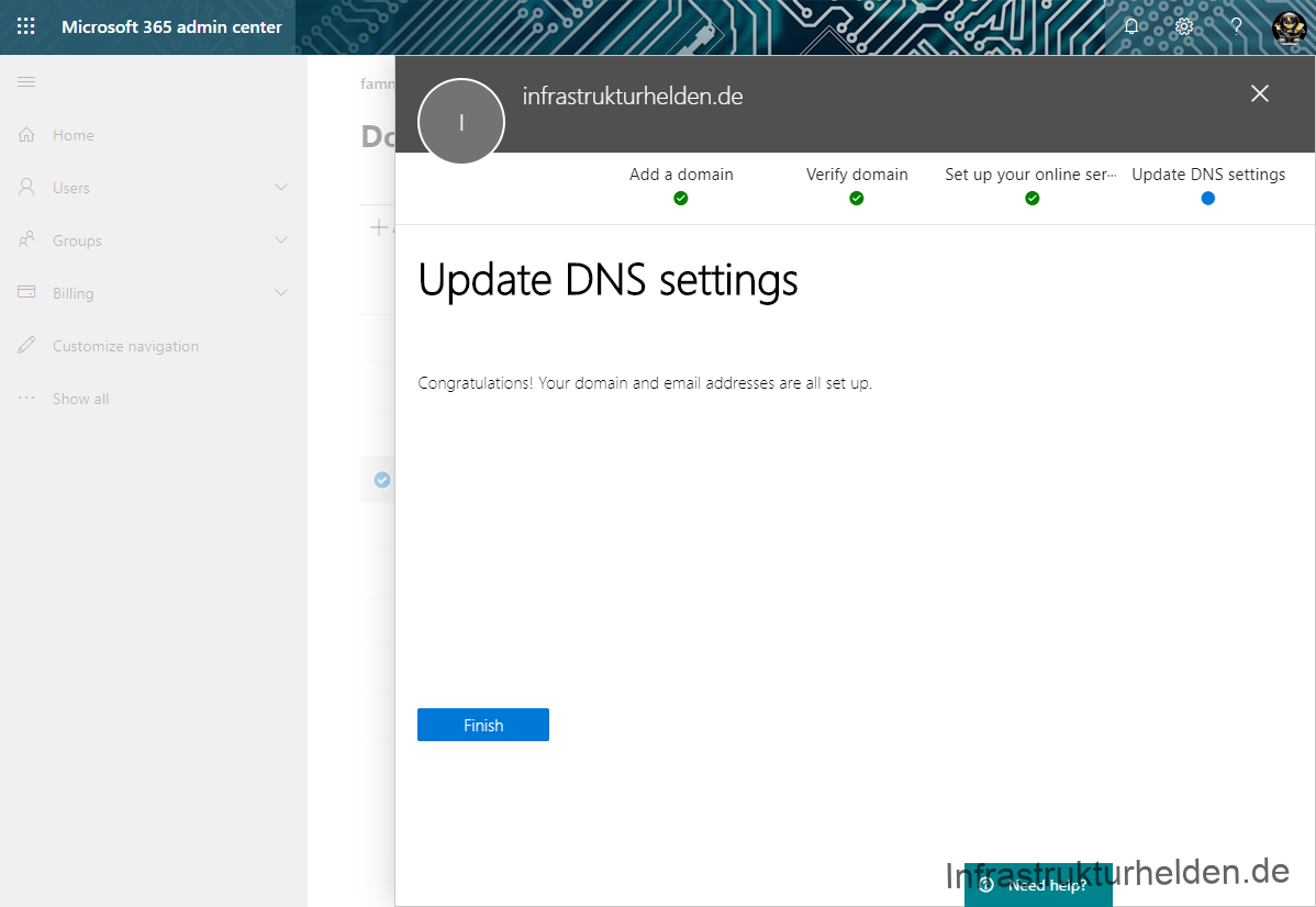 Microsoft 365 admin center Verify DNS settings