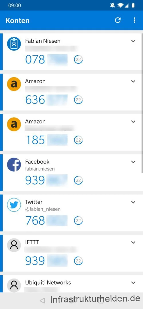 Screenshot aus der Microsoft Authenticator App mit Konten von Amazon, Facebook, Twitter, IFTTT, Ubiquiti und AzureAD