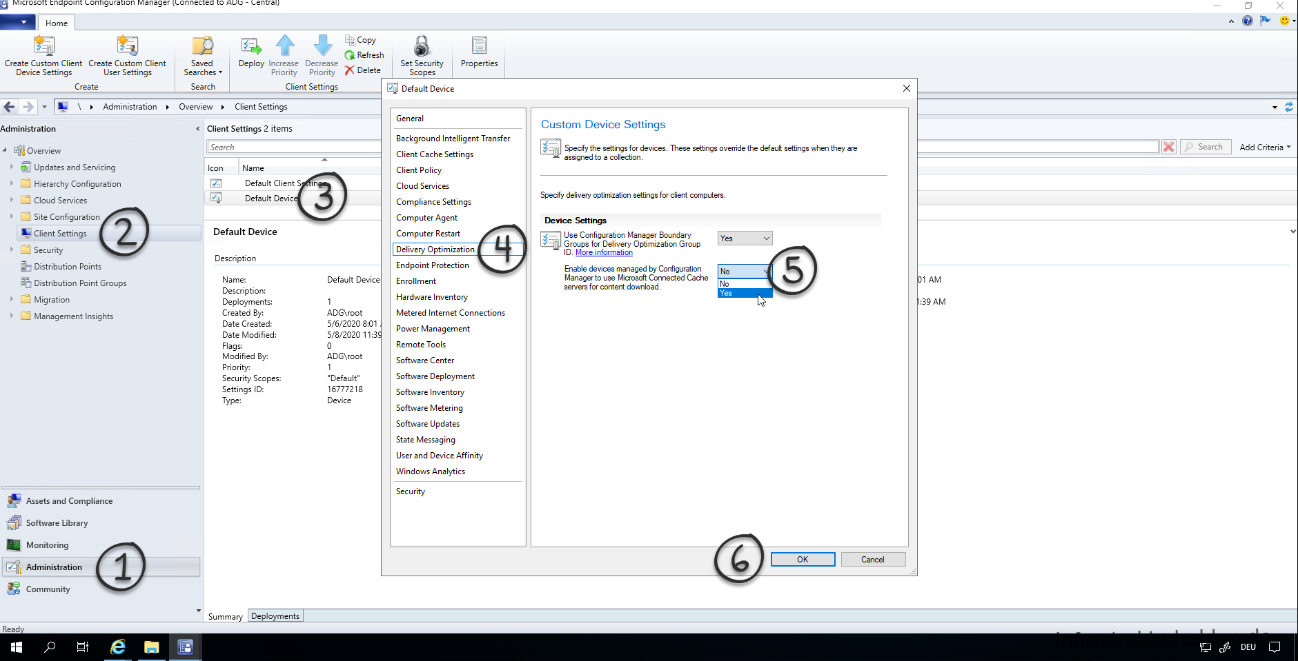 "Configuring the SCCM Policy for Connected Cache Next, you must adapt the corresponding device policy in SCCM. To do this, go to the ""Client Settings"" under Administration and open the properties of the corresponding policy. Under ""Delivery Optimization"", set the option ""Enable devices managed by Configuration Manager to use Microsoft Connected Cache servers for content download"" to ""Yes""."