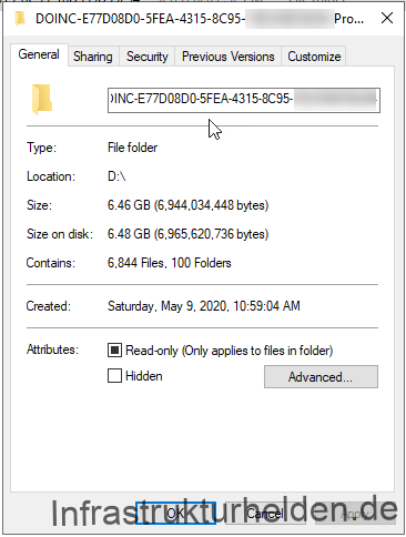 Connected Cache Folder Properties on the SCCM DP