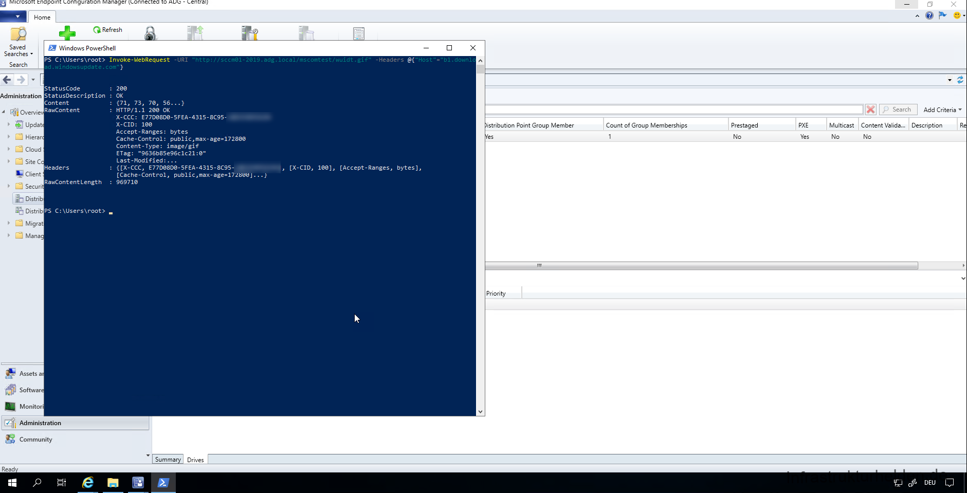 Test the cache accessibility with the PowerShell command Invoke-WebRequest