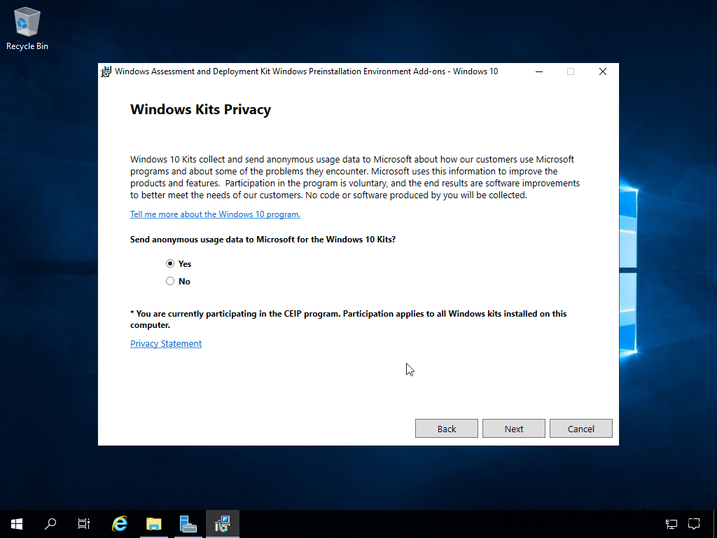 Install Windows Assessment and Deployment Kit - Windows Preinstallation Environment - Windows Kits Privacy