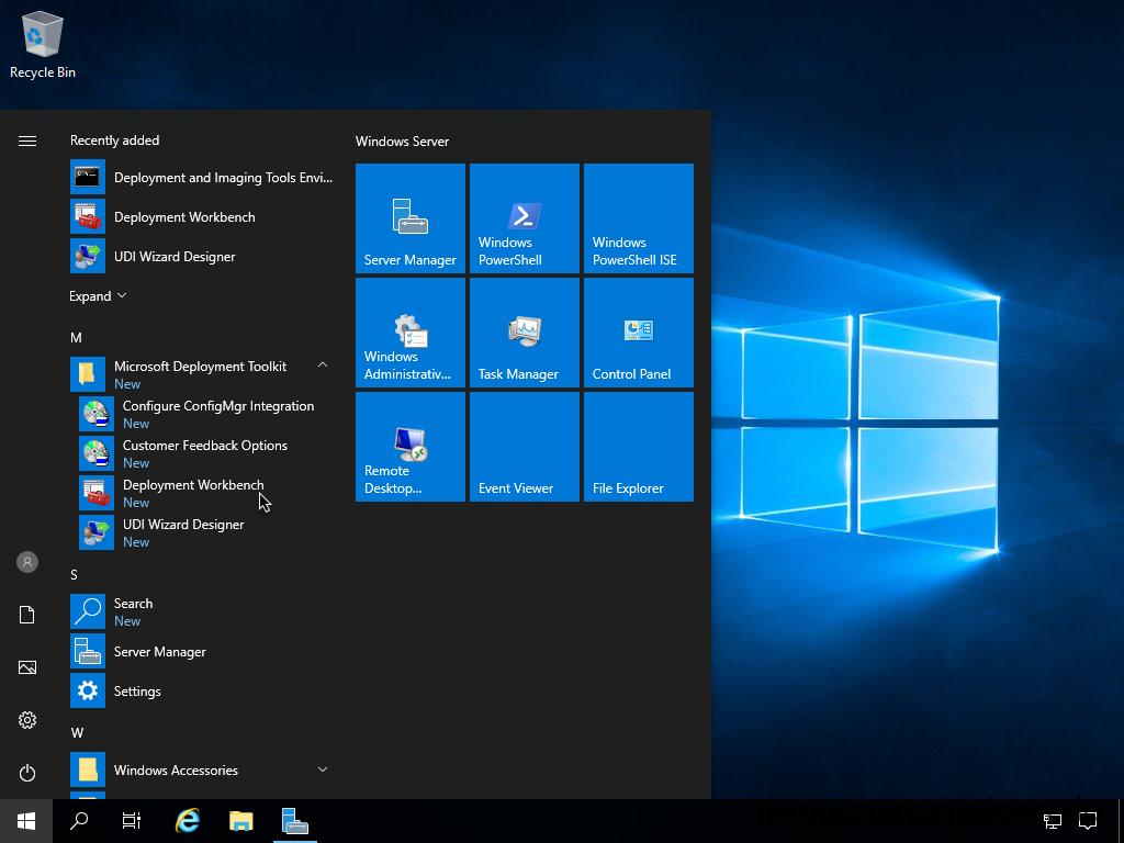 Screenshot: Start Deployment Workbench
