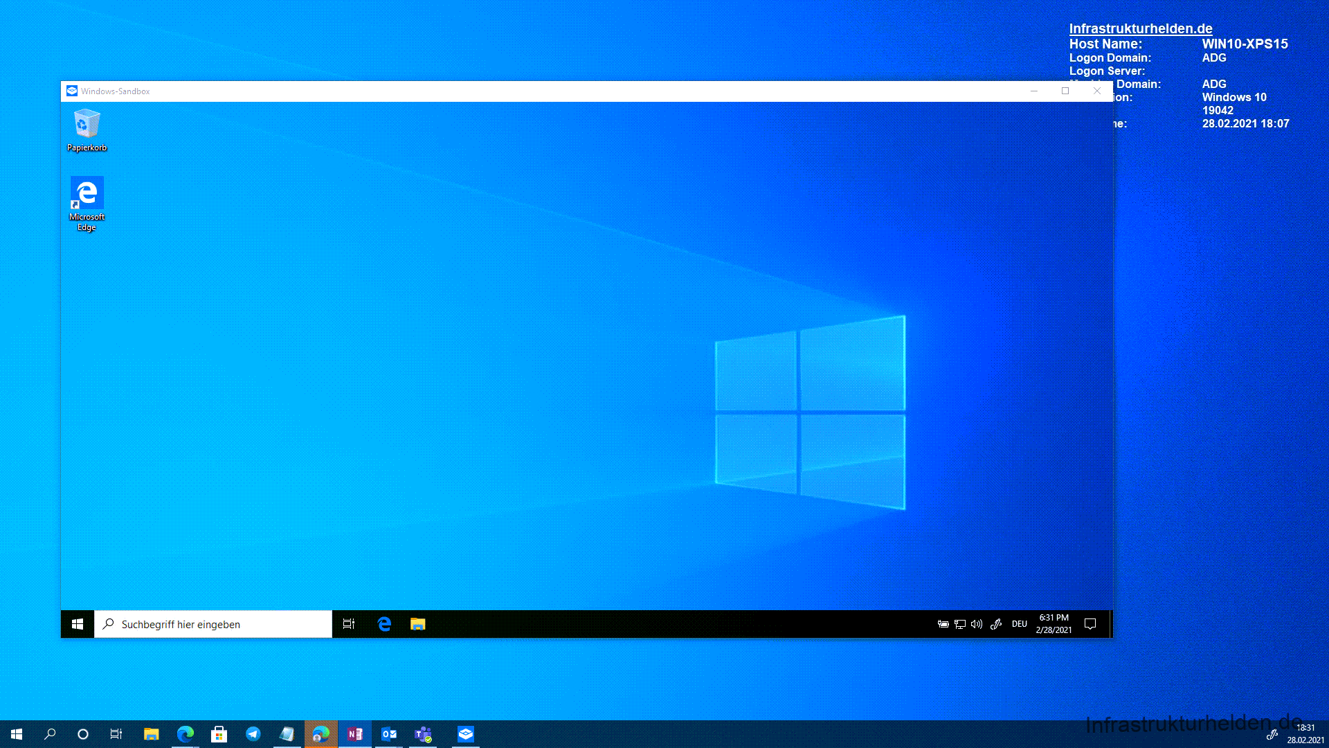 Screenshot Windows 10 Sandbox opened