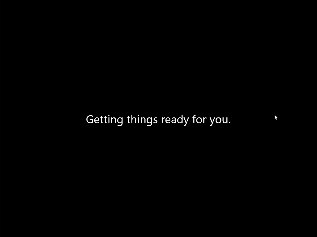 Computergenerierter Alternativtext: Getting things ready for you.