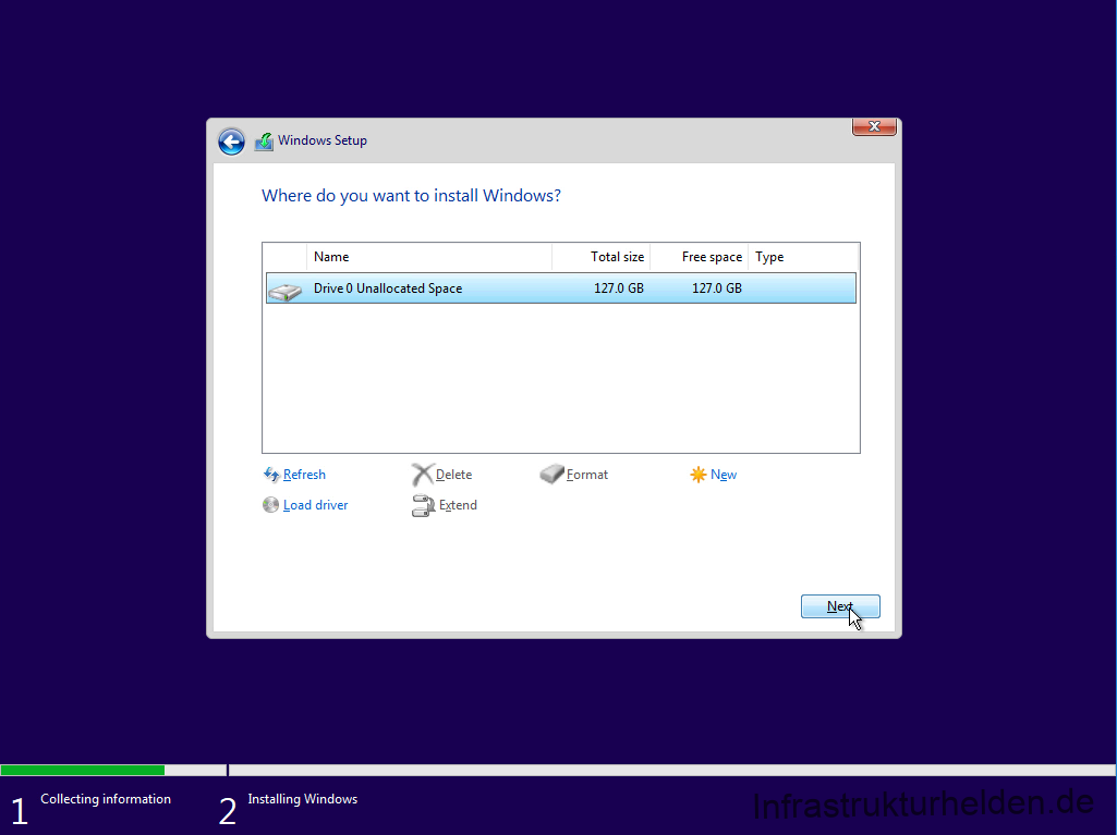 Computergenerierter Alternativtext: Windows Setup  Where do you want to install Windows?  Name  Drive O Unallocated Space  Total Size  1270  format  Free space Type  1270  * New  Collecting information  Refresh  Load driver  Installing Windows  Delete  Extend